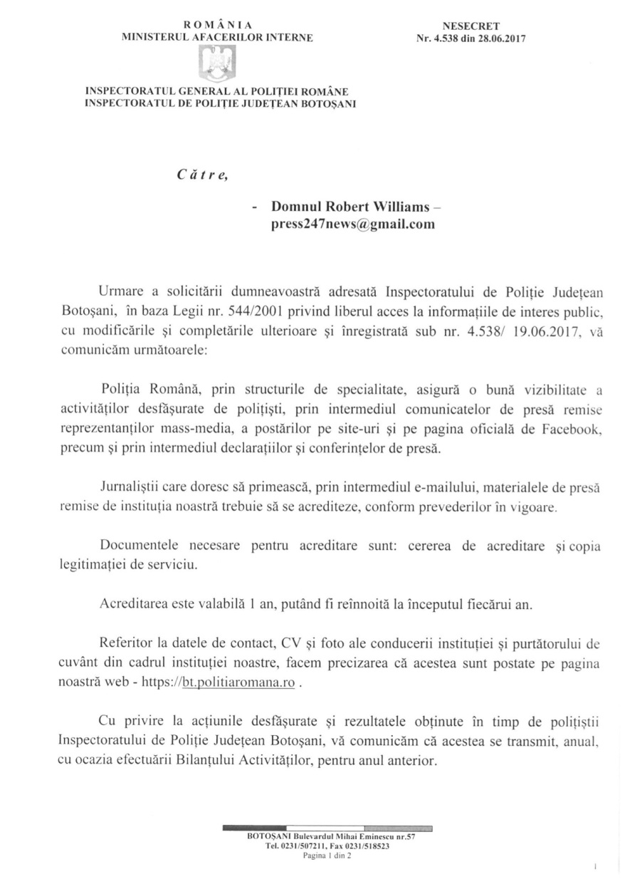 IPJ BOTOSANI-raspuns dnul Williams