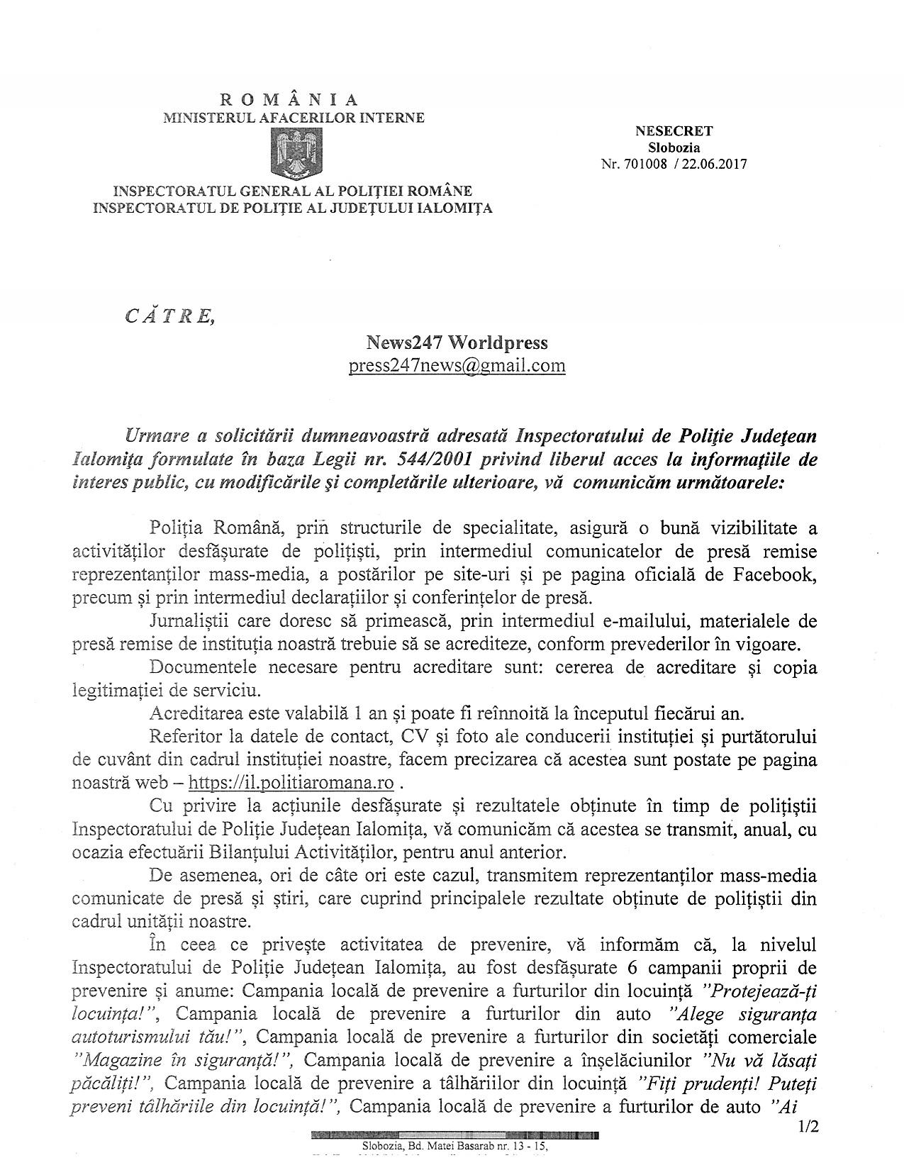 Raspuns solicitare IPJ Ialomita (1)